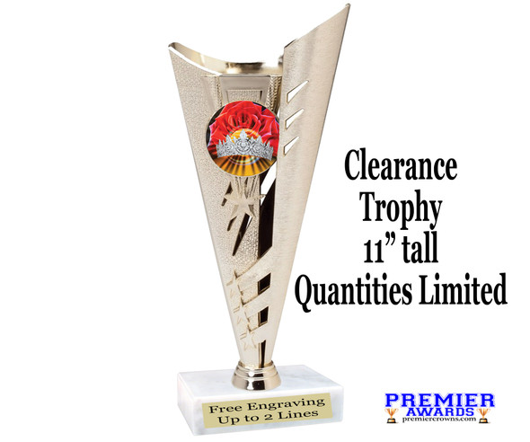 "Clearance 11"" tall trophy with  Holographic crown insert.  H263"