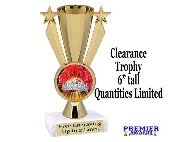 """Discontinued Clearance trophy.  Holographic Crown insert.  6"""" tall with limited quantities.  13506"""