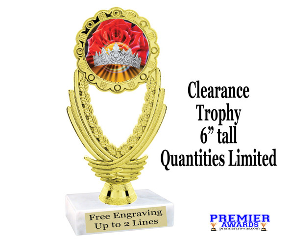 """Discontinued Clearance trophy.  Holographic Crown insert.  6"""" tall with limited quantities.  ph44"""