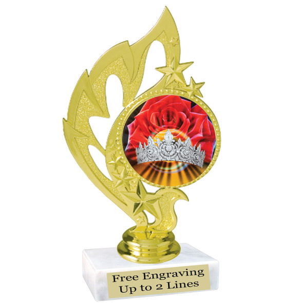 """Discontinued Clearance trophy.  Holographic Crown insert.  6"""" tall with limited quantities.  84506"""