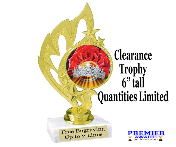 "Discontinued Clearance trophy.  Holographic Crown insert.  6"" tall with limited quantities.  84506"