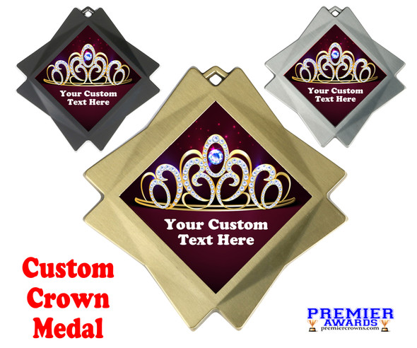"Custom Crown medal.  3"" Diamond medal with your custom text."