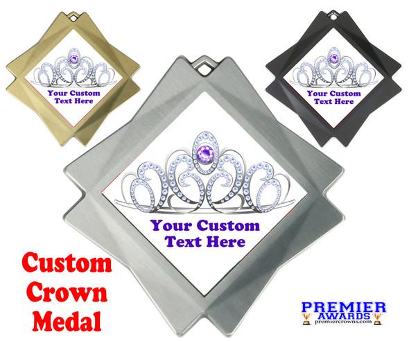 """Custom Crown medal.  3"""" Diamond medal with your custom text. 002"""