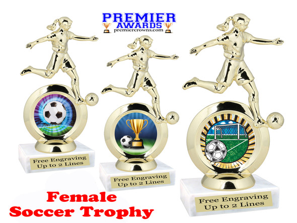 Soccer trophy.  Female soccer player with choice of artwork.
