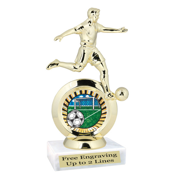 Soccer trophy.  Male soccer player with choice of artwork.