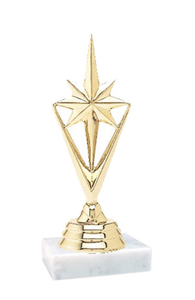 """3.5"""" tall   Star trophy.  On 2""""x2"""" marble base.  (133G-P) Great for side awards and participation"""