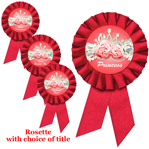 Red Rosette with choice of title