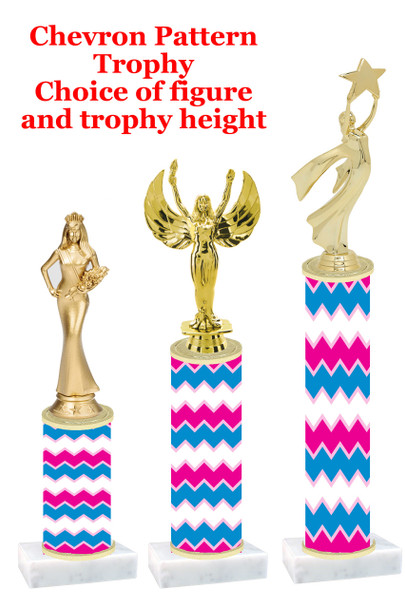 Chevron pattern  trophy with choice of trophy height and figure (001)