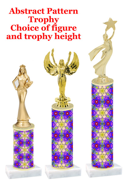 Abstract  pattern  trophy with choice of trophy height and figure (001)