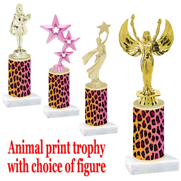 """Go """"wild"""" with your awards!  Animal Print Trophy with choice of figure and trophy height.  Trophy heights starts at 10"""" tall  (008"""
