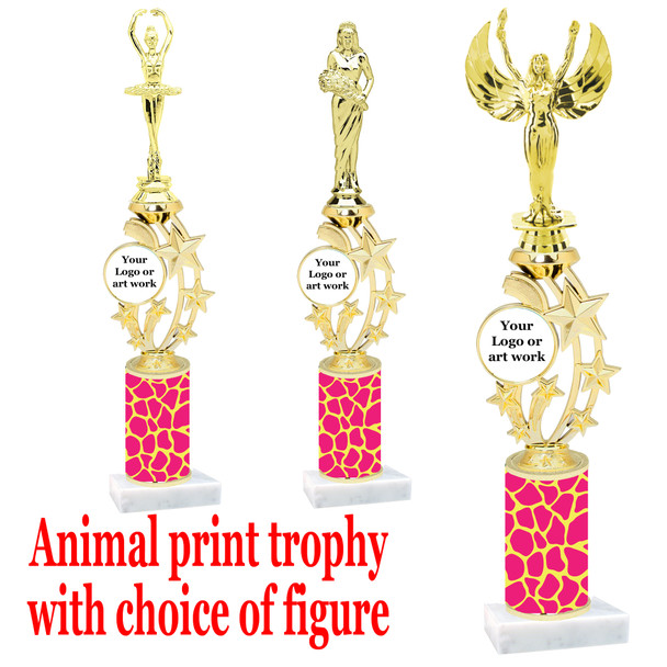 """Custom Trophy.  Animal Print column with choice of figure and trophy height.  Height starts at 14"""".  Upload your logo or custom art work.  (mr200-010"""