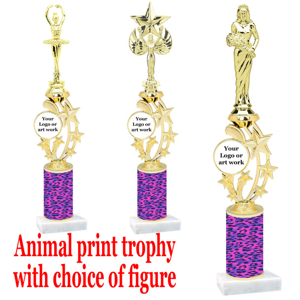"""Custom Trophy.  Animal Print column with choice of figure and trophy height.  Height starts at 14"""".  Upload your logo or custom art work.  (mr200-014"""