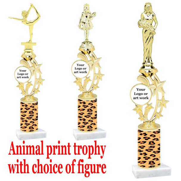 """Custom Trophy.  Animal Print column with choice of figure and trophy height.  Height starts at 14"""".  Upload your logo or custom art work.  (mr200-015"""