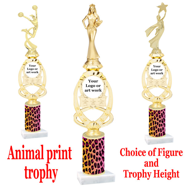 """Custom Trophy.  Animal Print column with choice of figure and trophy height.  Height starts at 14"""".  Upload your logo or custom art work.  (mr700-001"""