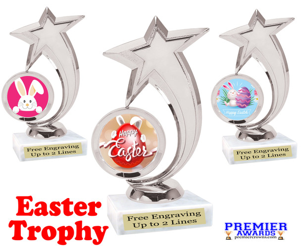 Easter theme trophy.  Festive award for your Easter pageants, contests, competitions and more.  6061
