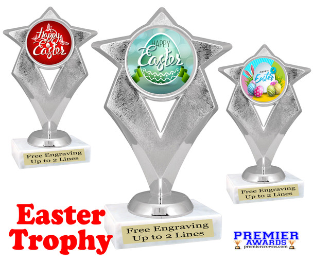 Easter theme trophy.  Festive award for your Easter pageants, contests, competitions and more.  5086S