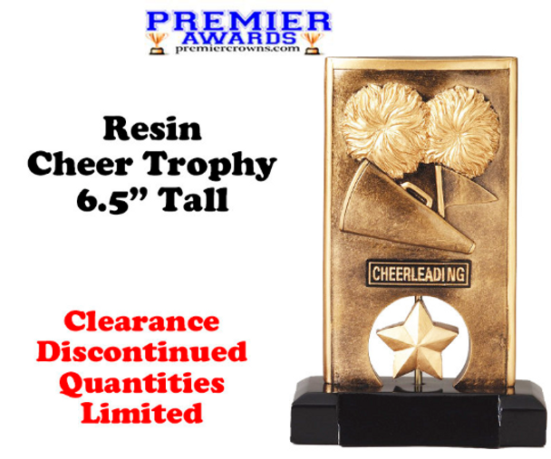 "Cheer Trophy.  6.5"" tall Resin trophy.  Clearance-Discontinued with limited quantities"