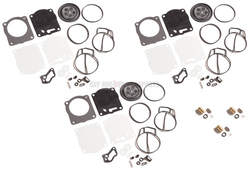Triple Carburetor Carb Rebuild Kit & Needle Seats Yamaha XL XLT GPR 1200 PV
