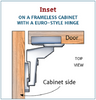 Nickel finish,  Flush Inset 105-Degree Cabinet Hinge - 1 pair