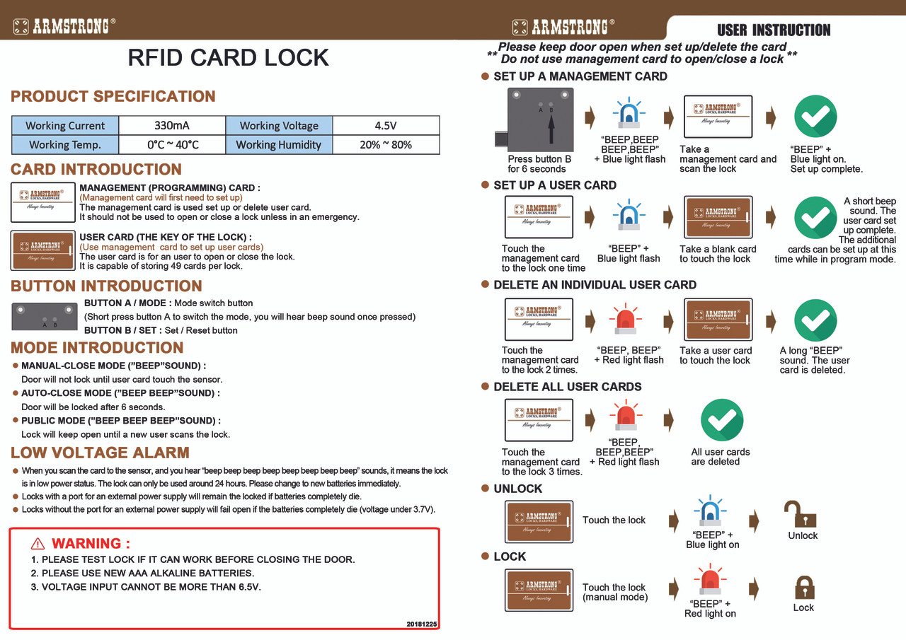 Hidden / Invisible RFID Cabinet Lock, 125 Khz
