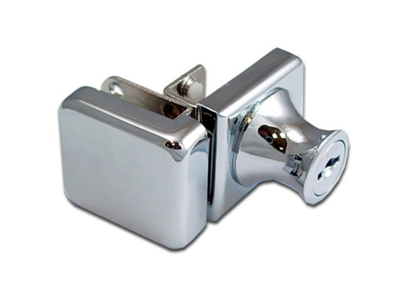 Chrome cabinet single swinging glass to glass door lock