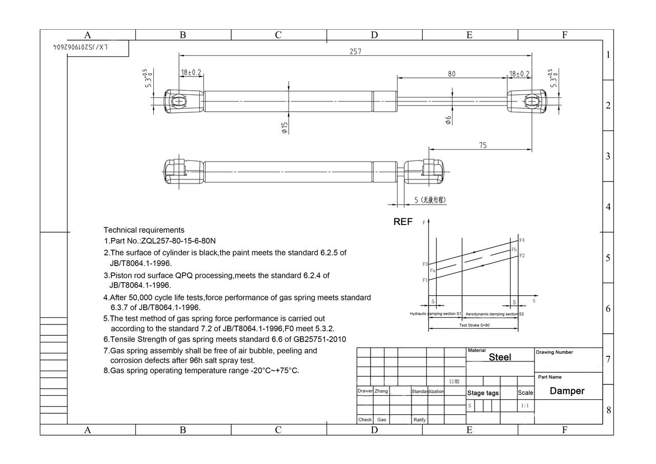 "Extension damper 80N/18 lb  10.12"" extended length"