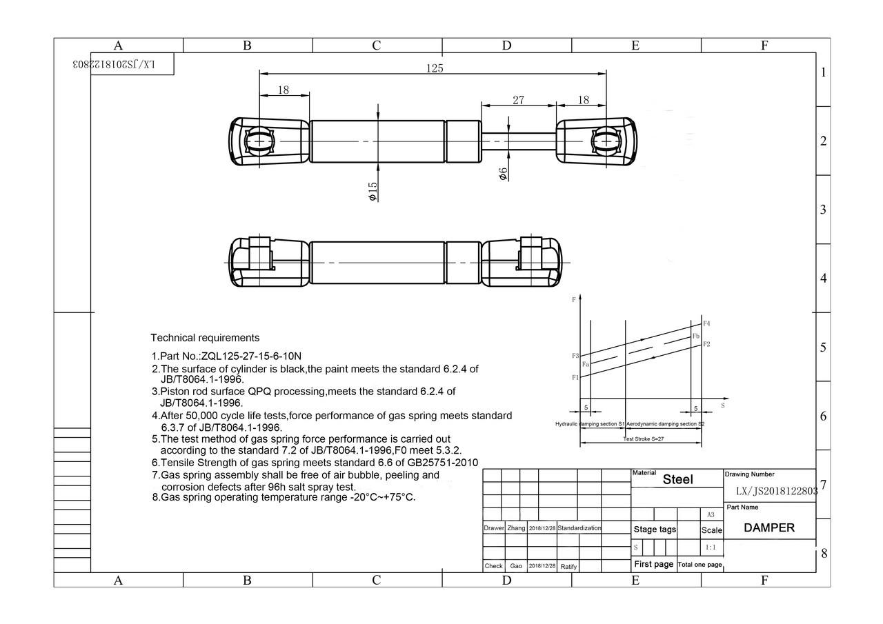 "Extension damper 5N/1.25 lb  4.92"" extended length"