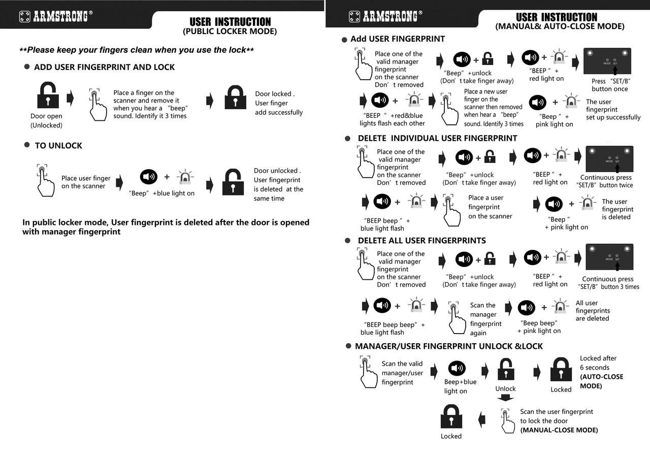 2nd Generation Reinforced fingerprint / biometric cabinet lock - G2