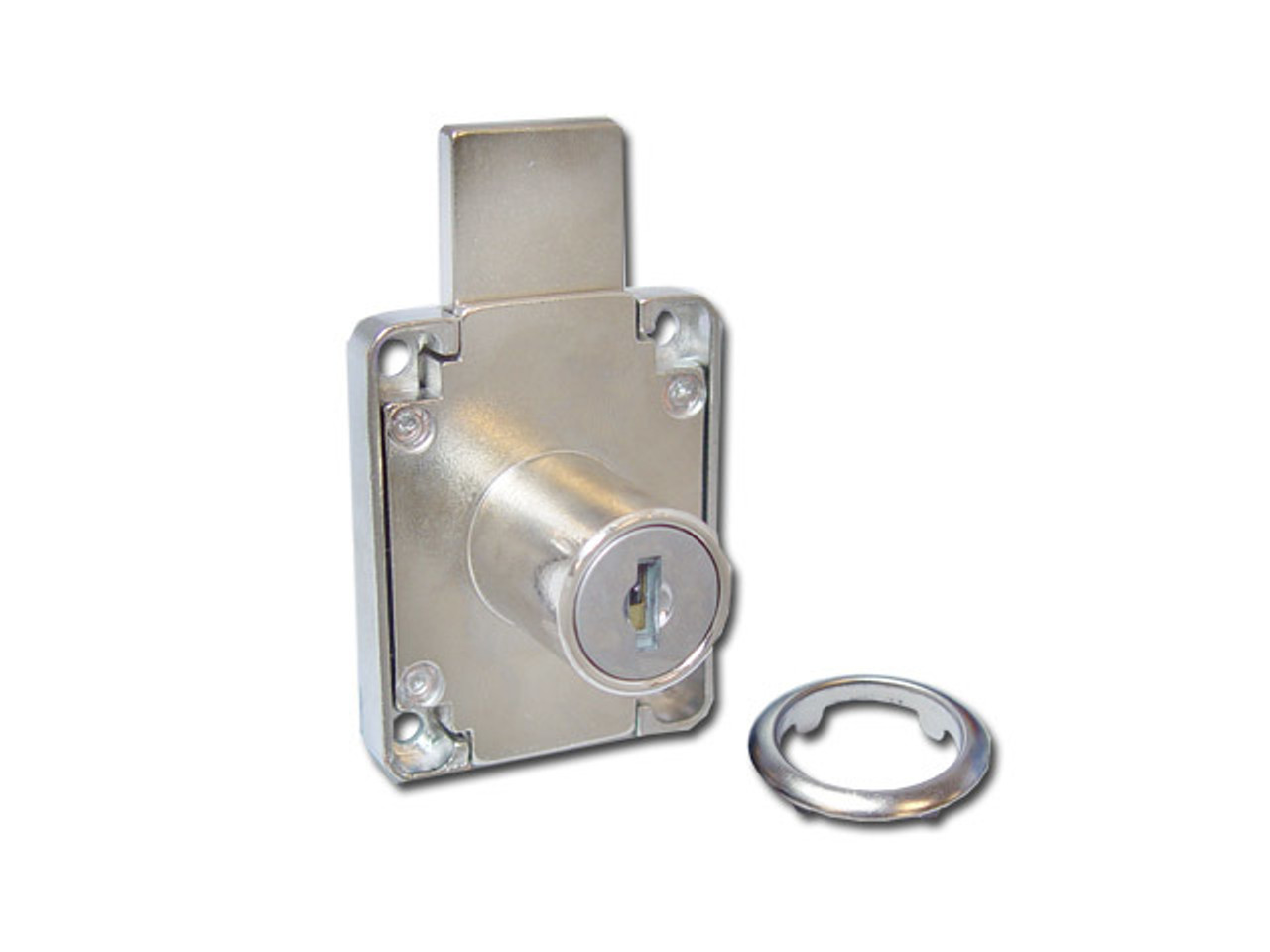 Nickle Plated two turn latch lock.