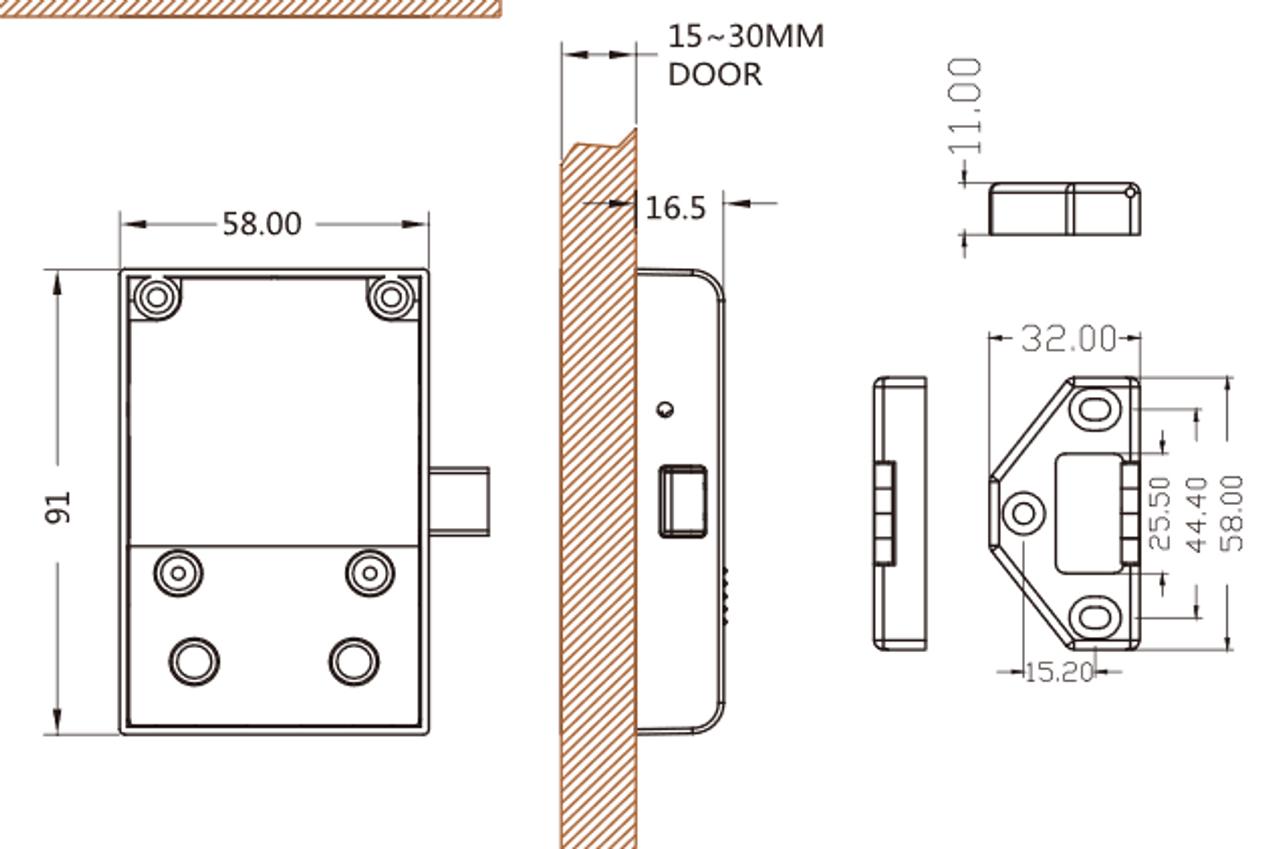 Hidden RFID Cabinet Lock with plug