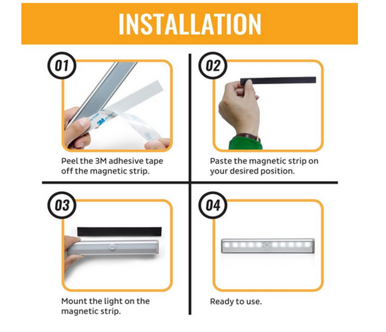 10 pcs of LED Motion Sensor Kitchen Under Cabinet Shelf Light battery operated