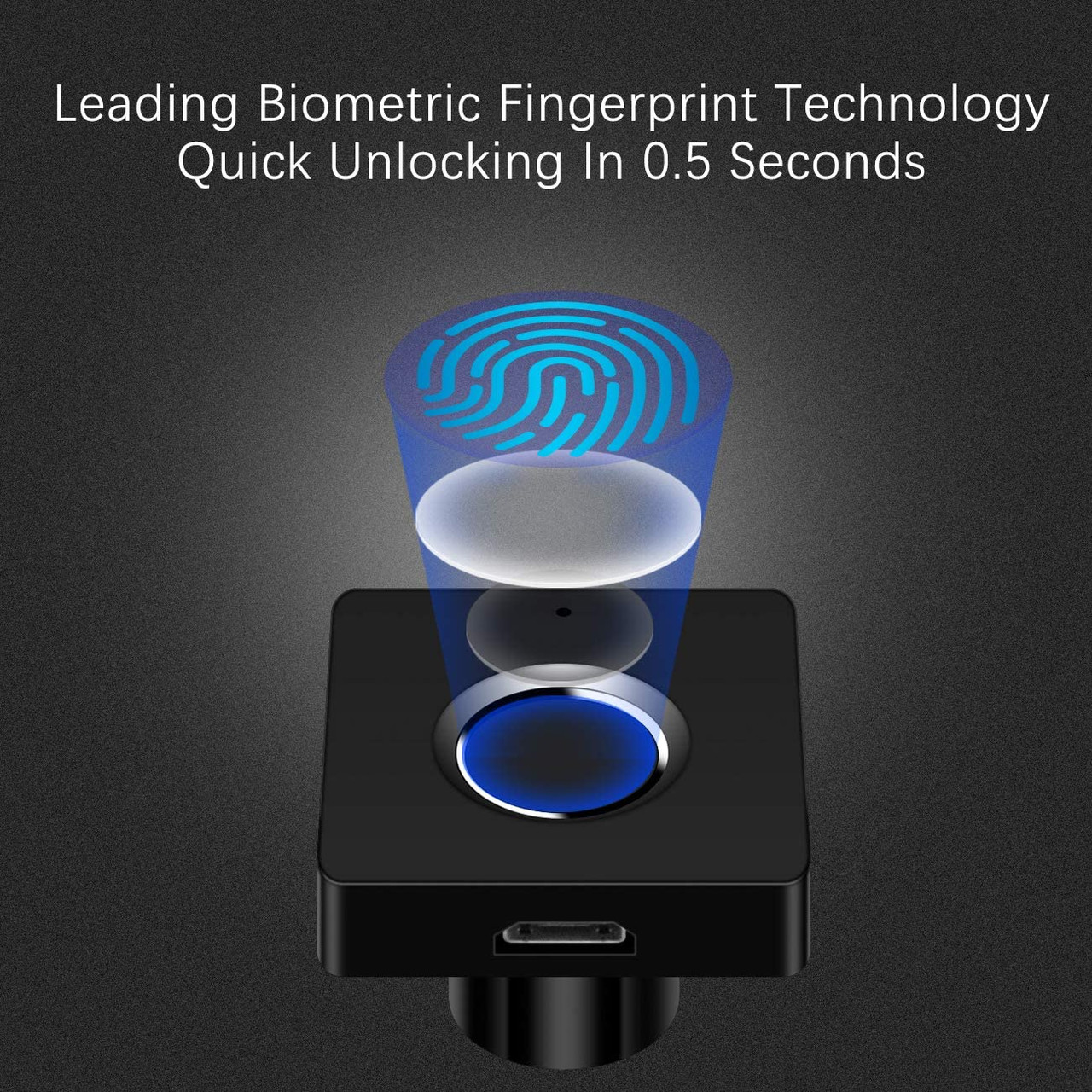 Surface Mount Black Face Fingerprint Lock