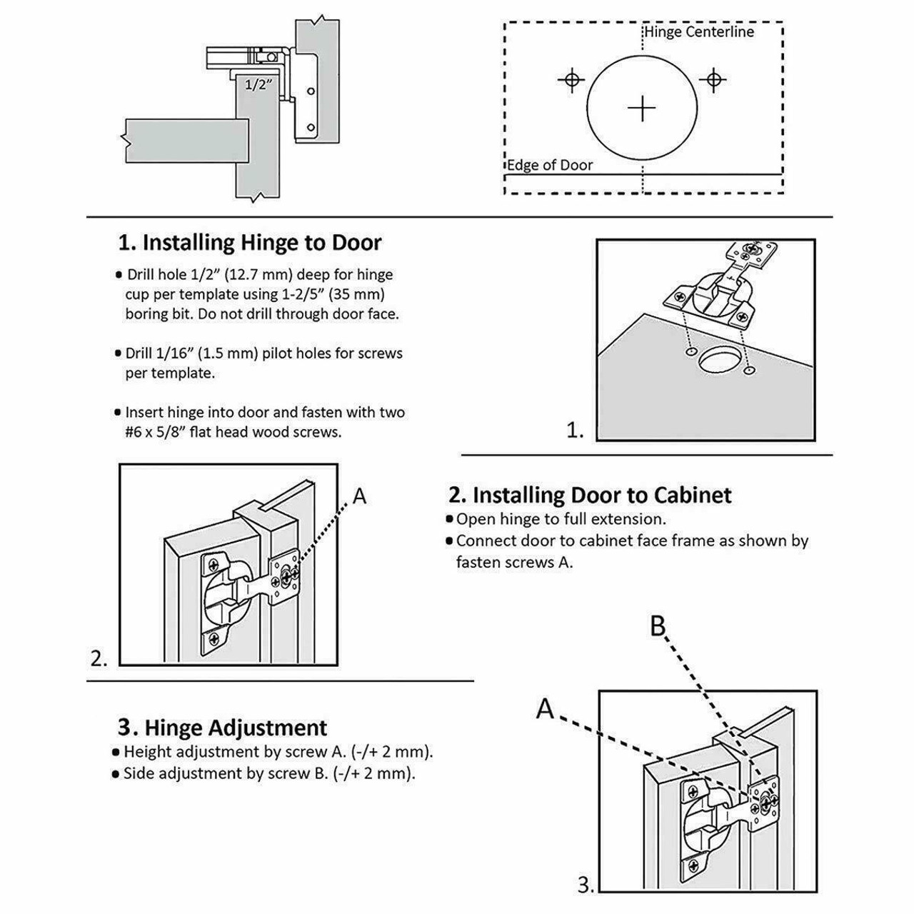 """Face Frame 105° Compact Cabinet Hinge 1 1/4"""" overlay"""