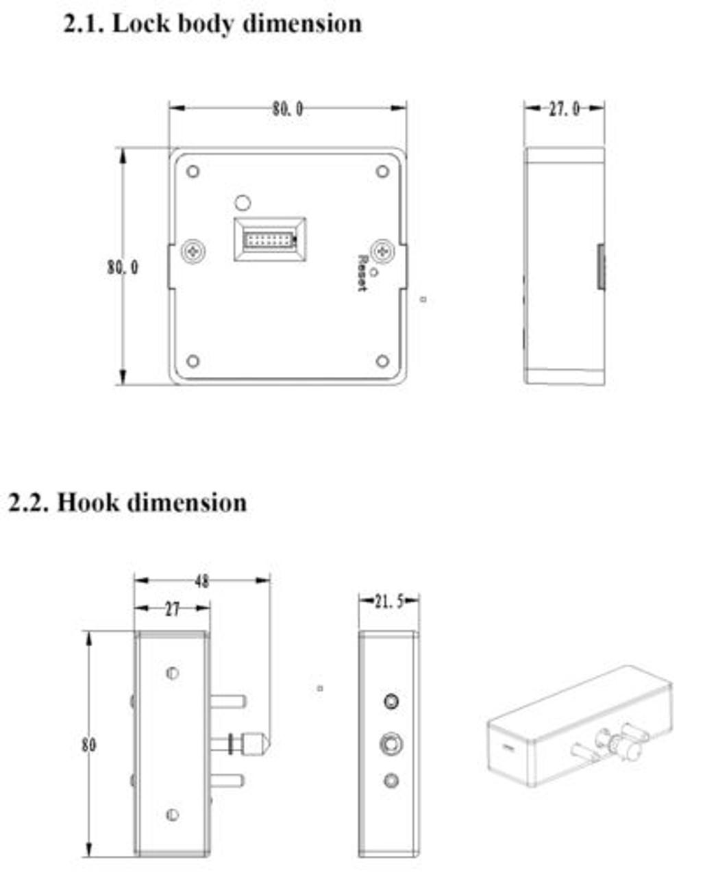 Fingerprint Square Cabinet Drawer Lock