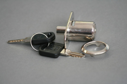 Nickel plated Push plunger lock for sliding glass doors, 30mm cylinder length