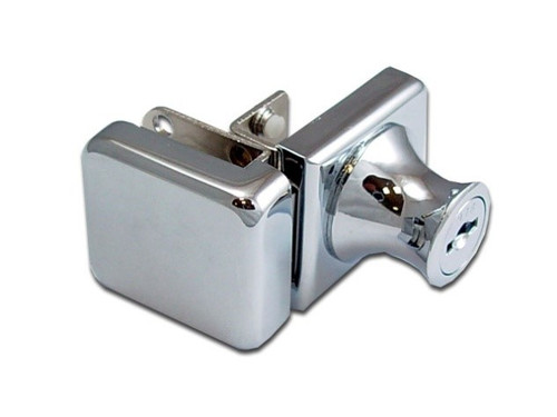 Chrome Cabinet Lock for swinging Glass Door - no drill style