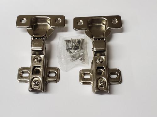 Nickel finish,  105-Degree Cabinet Hinge with Half Overlay - 1 pair