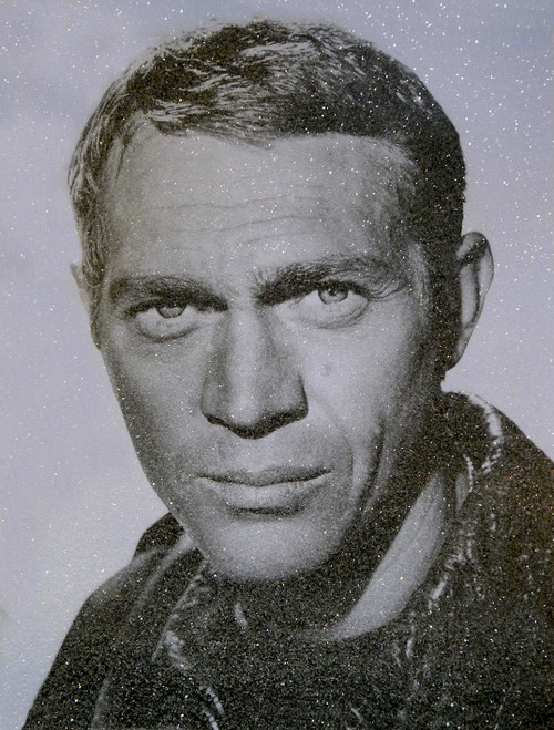Steve McQueen-Smokey blue - David Studwell Screen print with diamond dust Edition of 30 Pop Art Hollywood icons
