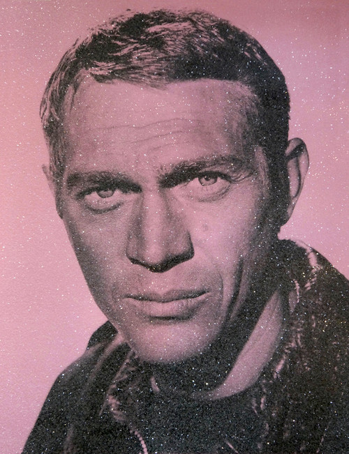 Steve McQueen - Pink 2020 - David Studwell Screen print with diamond dust, Edition of 30, Pop art, Hollywood icons