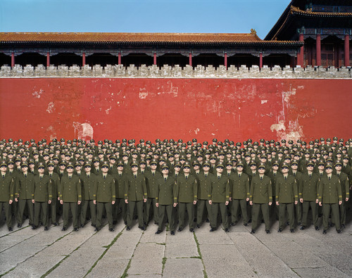 Title: PARADE 9 (CURIOUS POLICE) Beijing by Almond Chu 2012. Archival Inkjet Print on Art Paper, Meridian Gate, Forbidden City, Beijing, China.