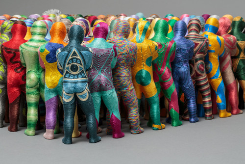 Bystander by June Lee.  2012-2021. Thread on plastic cast.