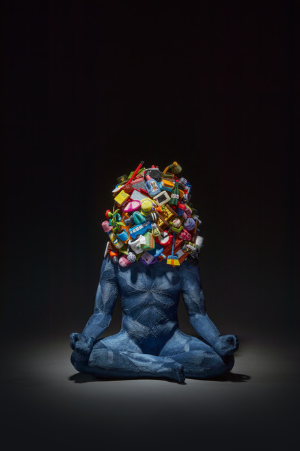 Weight of Human 2020 by June Lee.  2020. Thread on resin cast and clay (sculpy).