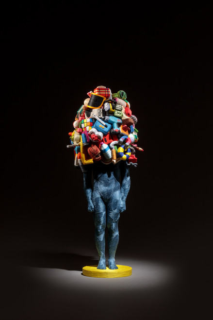Weight of Human by June Lee.  2018. Thread on resin cast and clay (sculpy).