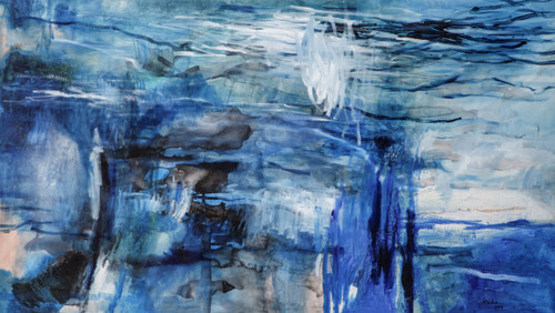 Seadance by Aishath Huda. 2019. Chinese ink, Pastels, Pigments, Texture Medium, Oil Bar and Oil on Canvas.