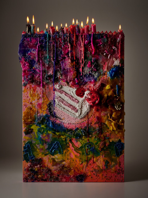 Alie Jane James 1 by Alie Song. 2019. Mixed media, acrylic paint, candle wax, resin painting and sculpting on canvas.