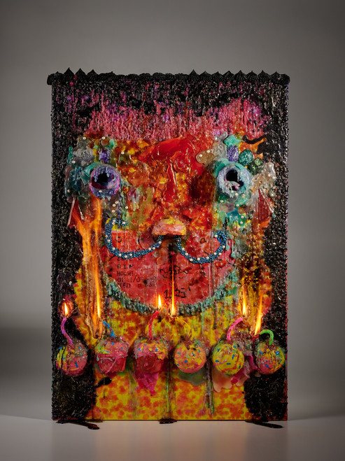 Dali Hochi Alie by Alie Song. 2019. Mixed media, acrylic paint, candle wax, resin painting and sculpting on canvas.