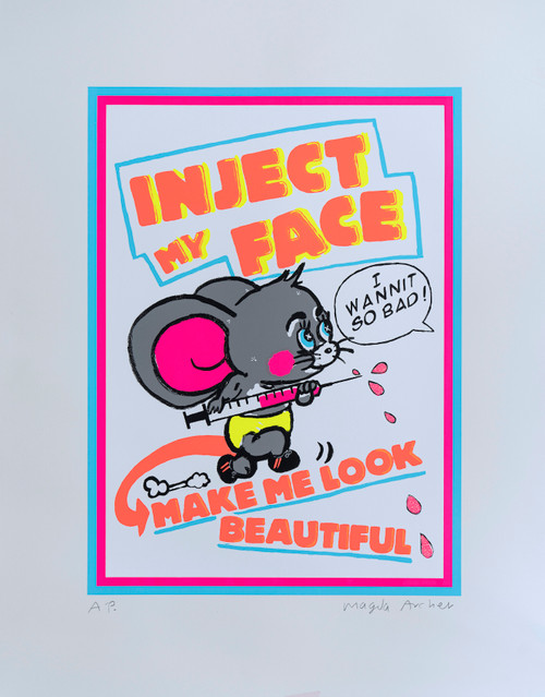 Inject My Face by Magda Archer. 2020. Screenprint in Eight Colours and Glitter Overlay.