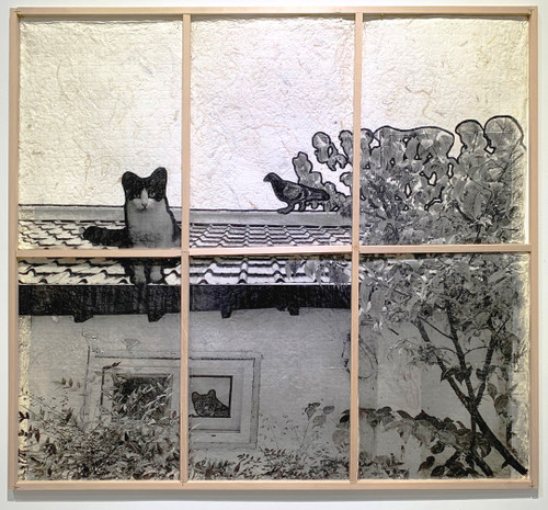 Picture of cat and pigeon by Hanna Lee. 2020. Korean Mulberry paper (Hanji), Photograph, Acrylic Paint.