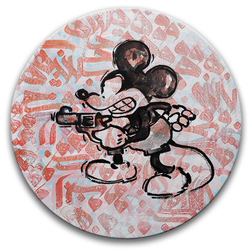Micky with Rifle by Hosna Karnama. 2018. Acrylic on Wood. Contemporary.