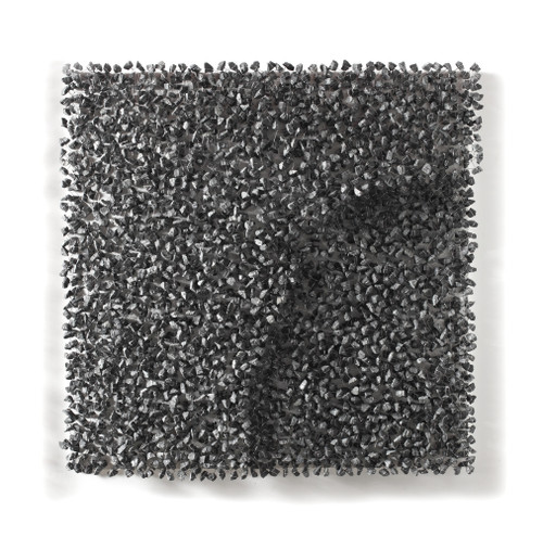 Rise Above 1205 by Ingoo Kang. 2012. Stone, Stainless wire, Birch plywood, Acrylic case. Relief sculpture